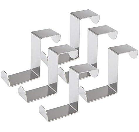 Hojas de 2 cm Ancho Relaxdays Colgador Puerta Perchero Acero Inoxidable Ganchos para Colgar Plateado Pack de 10