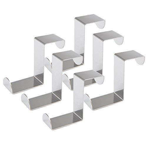 FOCCTS 6PCS Over Door Hooks 45MM Stainless Steel Reversible Hooks Cupboard and Drawer Hooks Coat Hanger 1mm Thickness