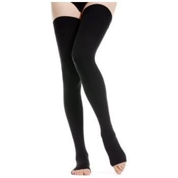 f594fecec1ace BriteLeafs Opaque Thigh High Compression Stockings Firm Support 20-30 mmHg,  Open Toe - Gradient Compression (Medium, Black)