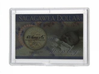 Sacagawea Frosty Case, It's a Boy! 2×3 Snaplock Coin Holder, by HE Harris 3 pk