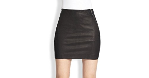 Theory Women's Keila Leather Pencil Skirt, Black Size 12