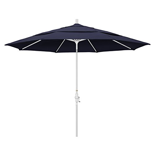 California Umbrella 11 Round Aluminum Market Umbrella, Crank Lift, Collar Tilt, White Pole, Sunbrella Navy