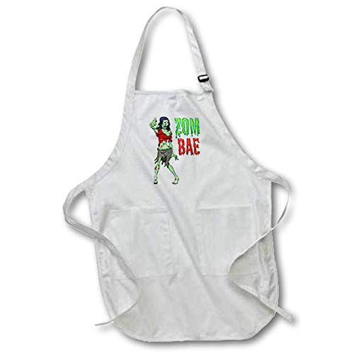 3dRose Carsten Reisinger - Illustrations - Zombae Funny Halloween Zombie Woman - Medium Length Apron with Pouch Pockets 22w x 24l -