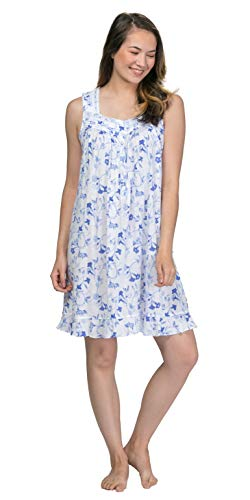 (Eileen West Sleeveless Cotton Modal Short Nightgown in Blue Song (White/Indigo Blue Floral, Large))