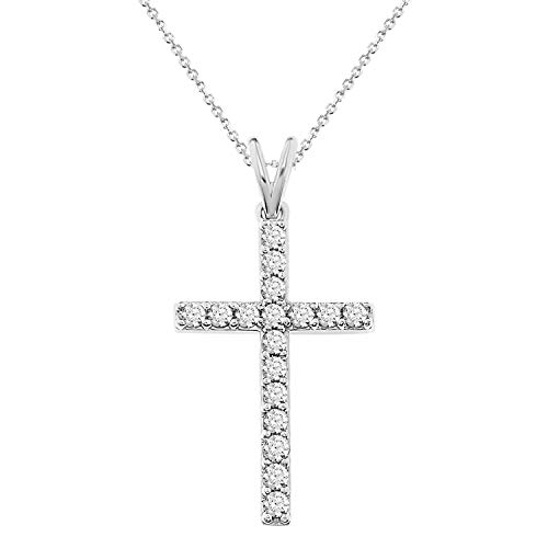 - Eternal Bliss 1/2 cttw Round Diamond Ladies's Cross Pendant with 18