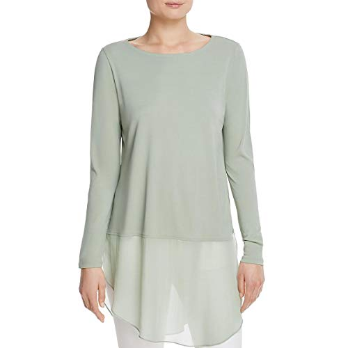 Eileen Fisher Womens Petites Silk Bateau Neck Tunic Top Green PM from Eileen Fisher