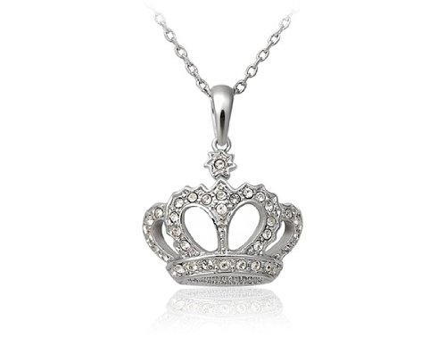 ITALINA Stylish Crown Shaped Diamond Necklace (White) ()