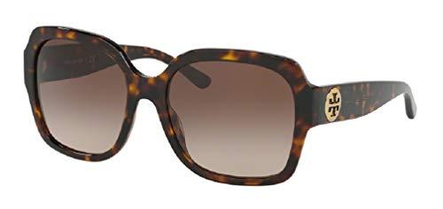 Tory Burch TY7140 172813 57M Dark Tortoise/Light Brown Dark Brown Gradient Square Sunglasses For Women+FREE Complimentary Eyewear Care Kit