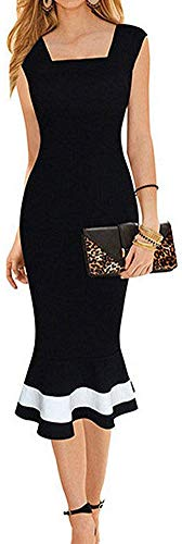 (LunaJany Women's Vintage Midi Sheath Business Causal Office Party Wiggle Dress Large Black)