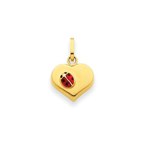 14k Yellow Gold Heart & Ladybug Charm, 10mm Gold Ladybug Toe Ring