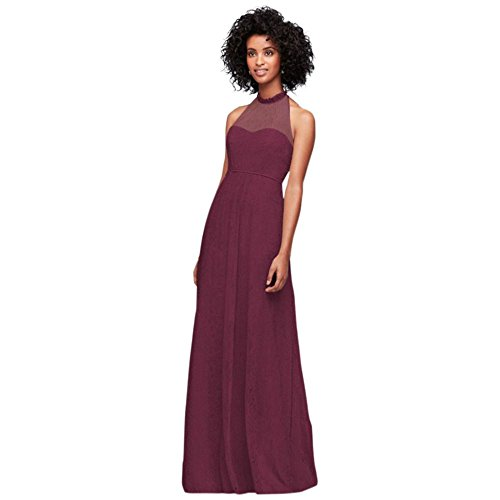 allover Chantilly Lace A-Line Bridesmaid Dress Style F19635, Wine, 12