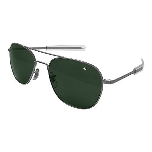AO Eyewear American Optical - Original Pilot Aviator Sunglasses with Bayonet Temple and Matte Chrome, Calobar Green Glass Lens