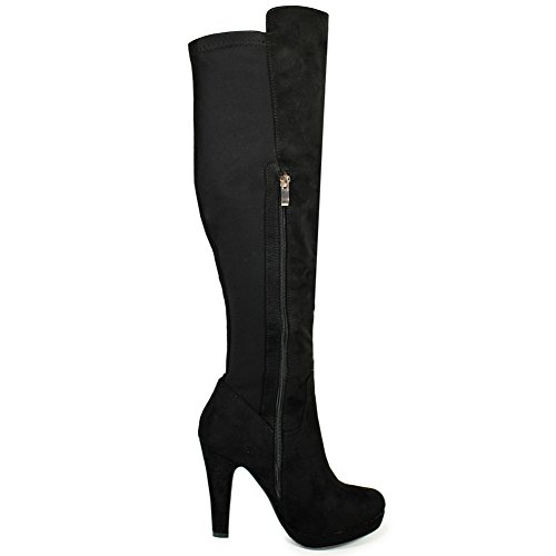 LADIES WOMENS KNEE HIGH HEELS LADIES LONG LEATHER SUEDE SEXY STILETTO THIGH BOOTS SIZE 3-8 Black Suede 5cQk41gKtA