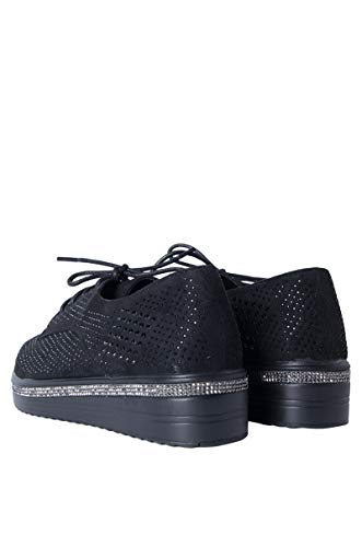 Black AKIRA Up Edge Flatform Dress Shoes Oxford Shiny Rhinestone Platform Lace Texture Women's HYrq7wHZ
