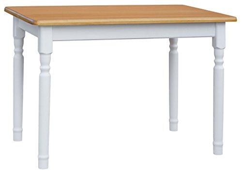 Mesa de comedor de 110 x 70 cm, mesa de cocina de madera maciza de pino, color bla