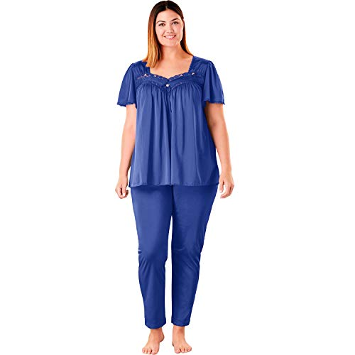 Necessities Set - Only Necessities Women's Plus Size Silky 2-Piece Pj Set - Blue Sapphire, 2X