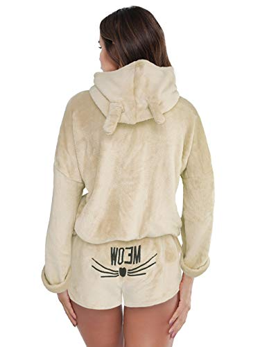 Queen M. Women Girls Fleece Pajamas Cozy Sleepwear Meow Embroidered Hoodie Pullover Shorts Pj Two Piece Set Pajama Party (Apricot, Large)
