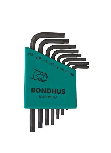 Bondhus 31732 Set of 8 Star L-wrenches, Short Length, sizes (T25 Torx Wrench)