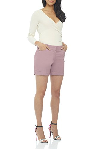 Rekucci Women's Stretch Cotton Spandex Cuffed Perfect Chino Short (4,Lavender Mist)