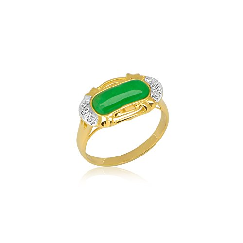 14k Yellow Gold Green Jade Ring with .03ct Diamonds 14k Yellow Gold Jade Ring