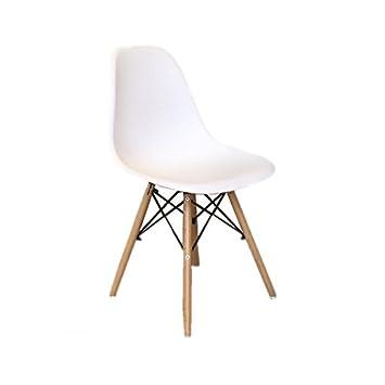 chaise cosy pieds en bois blanche - lot de 4: amazon.fr: cuisine ... - Chaise Blanche Pied En Bois