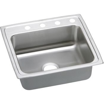 Right Rear Drain - Elkay Elkao LRAD221965MR2 18 Gauge Stainless Steel 22 Inch x 19.5 Inch x 6.5 Inch single Bowl Top Mount Kitchen Sink, with Rear Center Drain and Middle and Right Side Faucet Holes, by