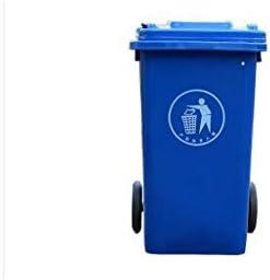 HXLG ゴミ箱 分別ごみ箱、 ゴミ箱プラスチック屋外ゴミ箱大規模な公衆衛生ベルトホイール環境保護と屋外ふたごみ箱Recyclable120L(長さX幅X高さ)46x55x94cm (色 : 青)