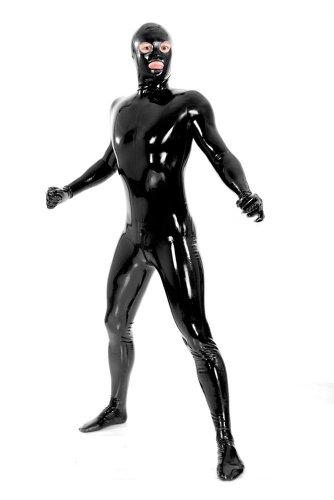 justinlatex men s black fullbody latex rubber zentai catsuit eyes mouth open xl buy online. Black Bedroom Furniture Sets. Home Design Ideas