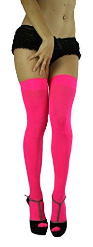 ToBeInStyle Women's Long Schoolgirl Stockings (Hot Pink) (Pink Spandex Sheer Stockings)