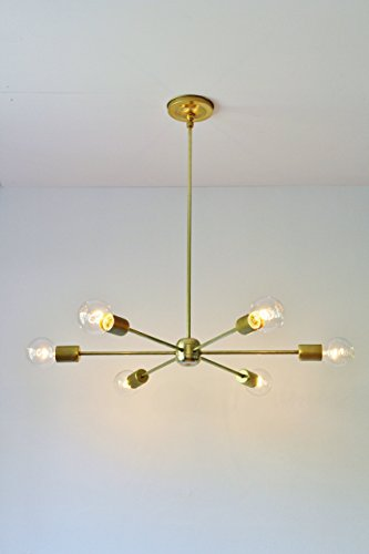 Modern Brass Chandelier, Mid Century Starburst Sputnik Lighting Fixture, 6 Arms & Sockets