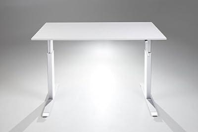 FlexTable Hand Crank Height Adjustable Sit Stand Desk w/ White Frame