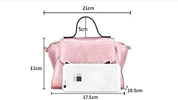 SJMMBB Fashion single bag lady bag leather slash bag,Pink,13X17.5X10.5CM