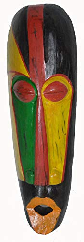 African Hand Carved Wooden Tribal MASK with Orange Lips Wall Decor