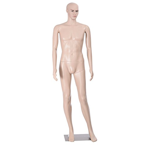 Male Mannequin Realistic Display Head Turns Dress Form with Base by Unbranded