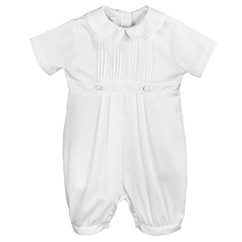 Petit Ami Baby Boys' Pique Christening Knicker with Hat, 12 Months, White (Baptism Gowns For Boys)