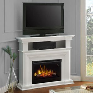 DIMPLEX Colleen Corner TV Stand with Electric Fireplace in White Dimplex Corner Electric Fireplace
