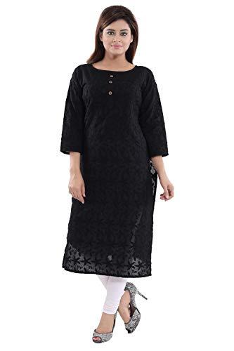 Chikan Kurta - Queenshield Chikankari Kurtis for Women Cotton Chikan Kari Kurta Kurti Indian Dress for Girls Ladies - Black (40-L)