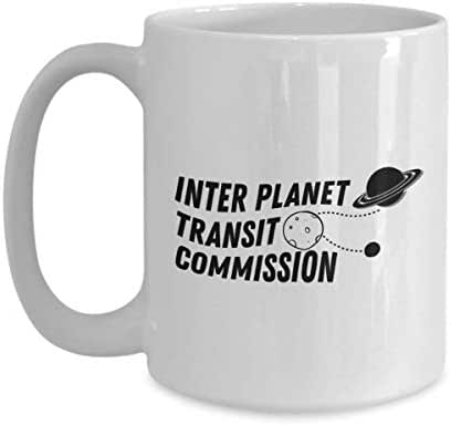 Astronaut Coffee Mug 15 Oz - Inter Planet Transit Commission - Astronomy Astronomer Milky Way Galaxy Rocket Space Earth Moon Star Planet