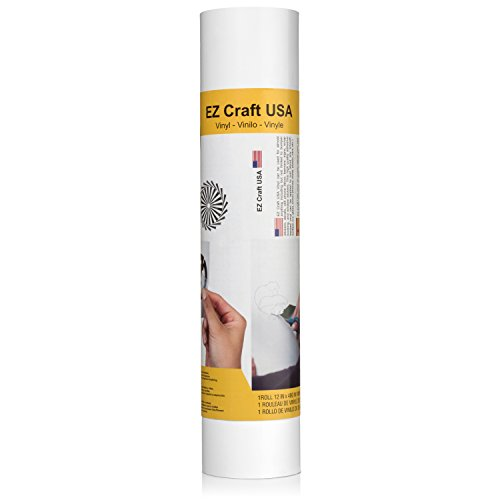 """Matte White Adhesive Vinyl Roll - Huge Matte Adhesive Permanent White Vinyl Rolls - 12""""x40FT White Vinyl Sheets are The Best Vynil - EZ Craft USA White Vinyl Wrap Works with Cricut and Other Cutters"""