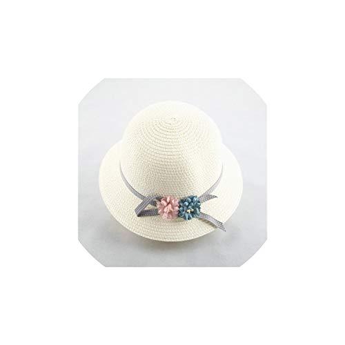 Sun hat Kids Small Fresh Child Straw Hat Baby Sun Hat Girl Summer Cap Beach Visor Hat Straw Bag Two-Piece Set,5