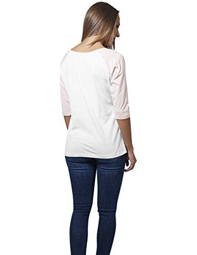 Urban Classics Ladies 3/4 Contrast Raglan Tee, Camiseta para Mujer Weiß (wht/pink 234)