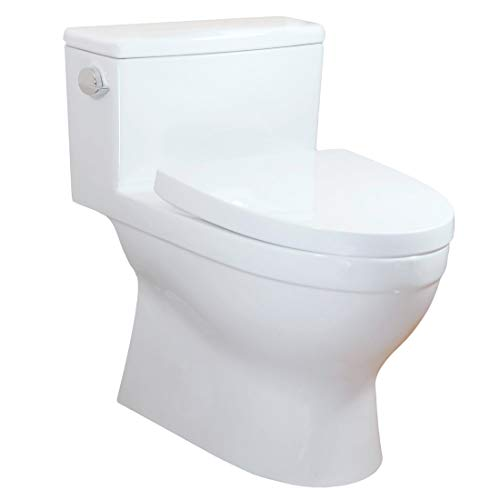(Winzo WZ5024 Comfort Height One-Piece Toilet, High Efficiency Single 1.28GPF Left-Hand Trip Lever Flush,Skirted Elongated Right Height bowl Soft closing seat Cotton White)