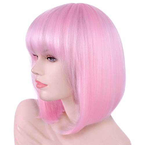 Pink Halloween Party (Annivia Light Pink Short Bob Wig with Bangs for Women 12'' Heat Resistant Synthetic Straight Wigs with Bangs Halloween Cosplay Party Wig Natural As Real Hair (Light)