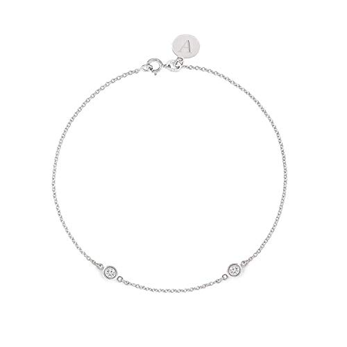 (TousiAttar Diamond Bracelet 0.10 ct - Solid 14k or 18k White Gold - Solitaire Bezel Set - Free Personalized Initials Engraving - Nice Jewelry Gift for Women )