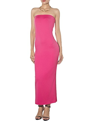 (iB-iP Women's Bare Shoulder Stretch Tube Slim fit Bodycon Long Strapless Dress, Size: XL, Hot Pink)