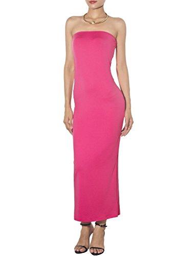 Strapless Column Sheath (iB-iP Women's Bare Shoulder Stretch Tube Slim fit Bodycon Long Strapless Dress, Size: XL, Hot Pink)