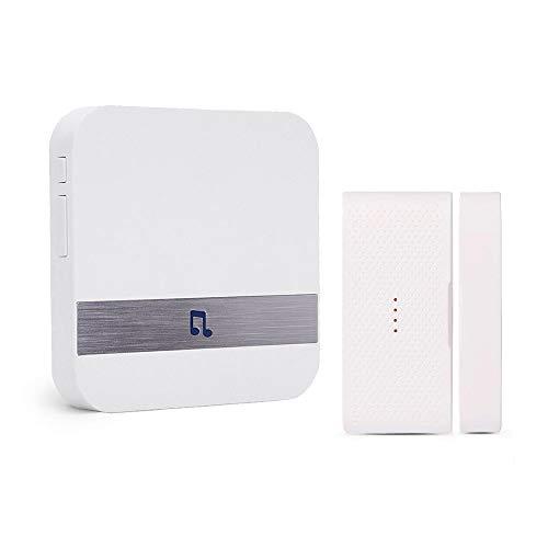 Wireless Door Open Chime, FullHouse Magnetic Door/Window Security Alarm Sensor and Plug-in Receiver (400FT Range, 5 Volume Levels and LED Indicators), Burglar Alert, Visitor Door Bell
