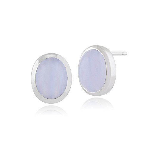 Gemondo Blue Lace Agate Earrings, 925 Sterling Silver 2.60ct Blue Lace Agate Oval Stud ()