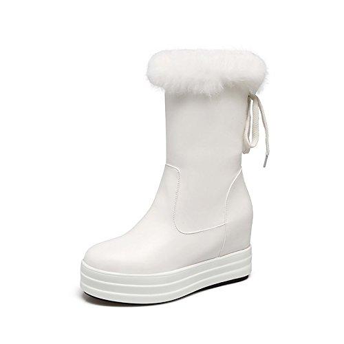 HSXZ Zapatos de Mujer Otoño Invierno polipiel botas para la nieve botas de moda botas bota PLANA Y REDONDA Nulo Toe botines/botines botas / Mid-Calf para White