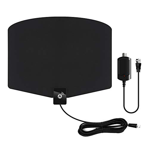 Amplified HD Digital TV Antenna 120+ Miles Long Range with Support 4K 1080p & All Older TV's Indoor Powerful HDTV Amplifier Signal Booster - Coax Cable